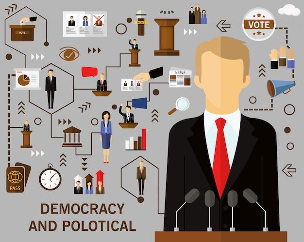Demokratie und politischer konzepthintergrund Premium Vektoren