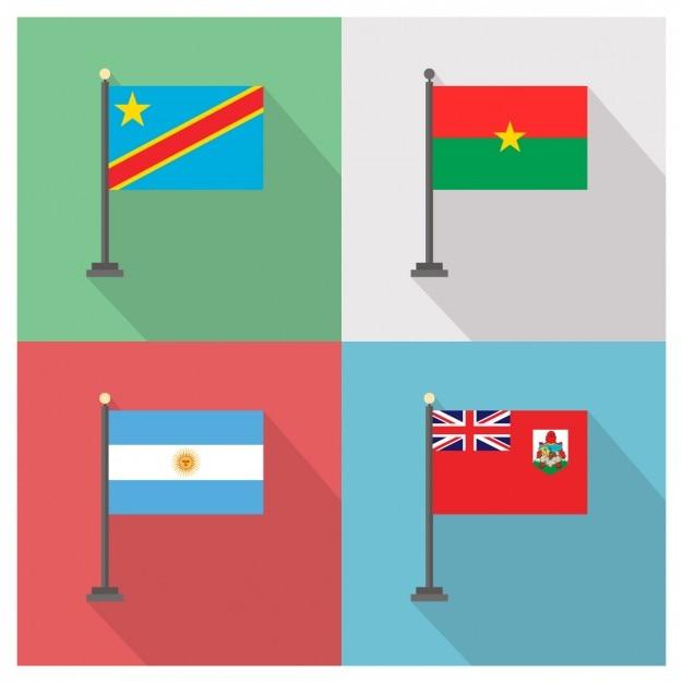Demokratische Republik Kongo Burkina Faso Argentinien und Bermuda Flags Kostenlose Vektoren