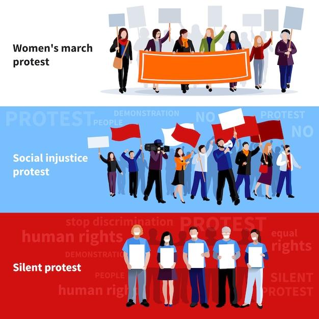Demonstrationsfrauen marschieren soziale ungerechtigkeit und stille protestleute mit megaphonen Kostenlosen Vektoren