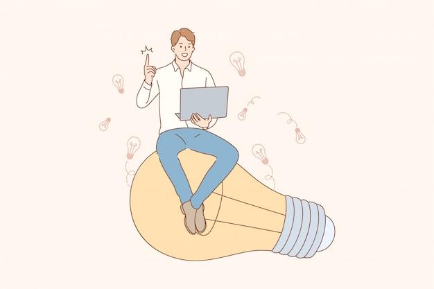 Denken, idee, erfolg, suche, geschäftskonzept. Premium Vektoren