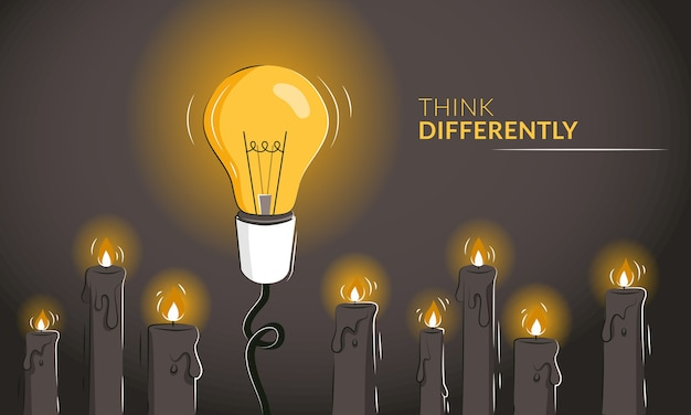 Denken sie anders motivierende horizontale banner mit der glühbirne zwischen kerzen. Premium Vektoren