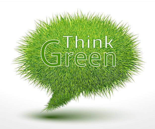 Denken sie grünes konzept auf gras Kostenlosen Vektoren