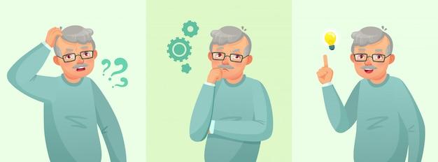 Denkender großvater, älterer mann löste frage, durchdachten älteren mann und verwirrtes karikaturkonzept der alten leute Premium Vektoren