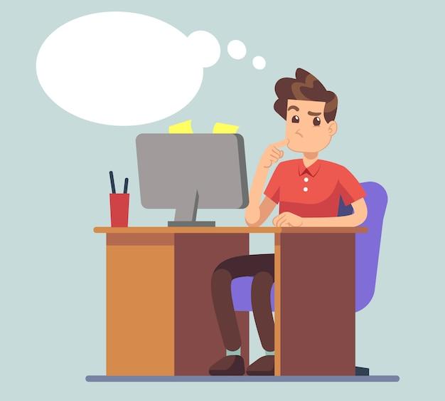 Denkender mann und denkende blase. student bei tisch mit laptopbildungs-vektorkonzept. gedanken des männlichen charakters über das online-geschäft Premium Vektoren
