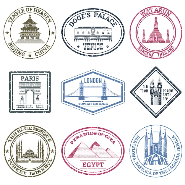 Denkmäler briefmarken set Kostenlosen Vektoren
