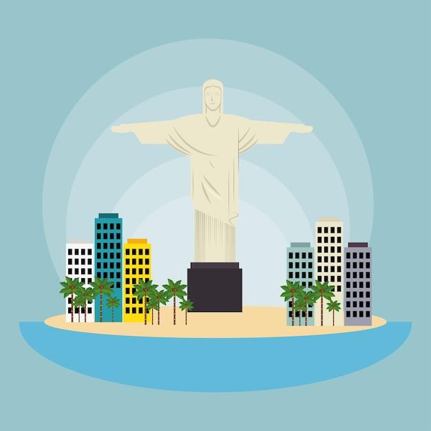 Denkmal christus brasilien stadtlandschaft Premium Vektoren