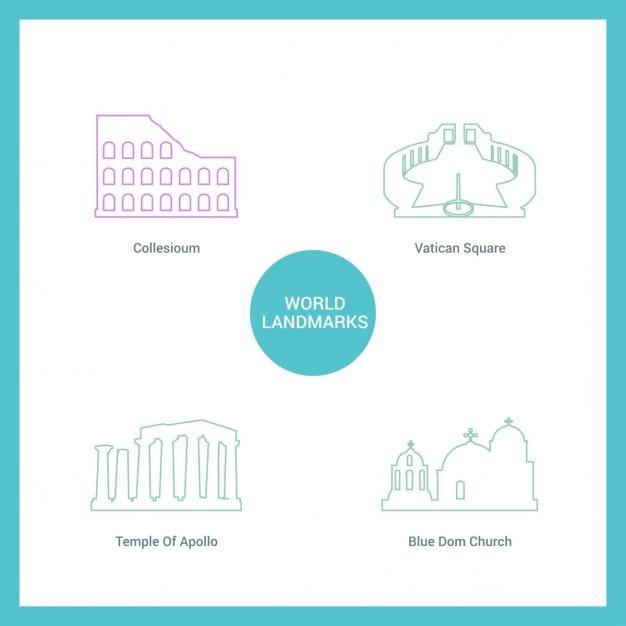 Denkmäler mit Linien gezeichnet Kostenlose Vektoren
