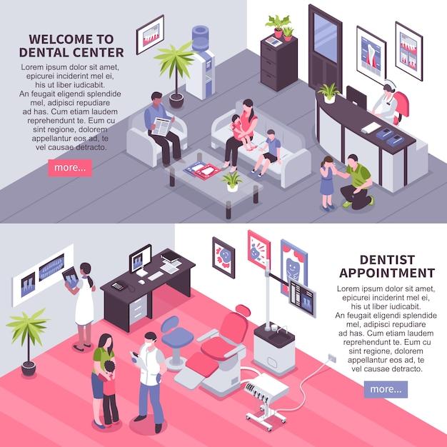 Dental center isometrische banner Kostenlosen Vektoren