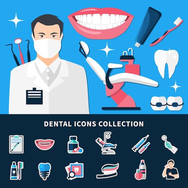 Dental icons sammlung Kostenlosen Vektoren