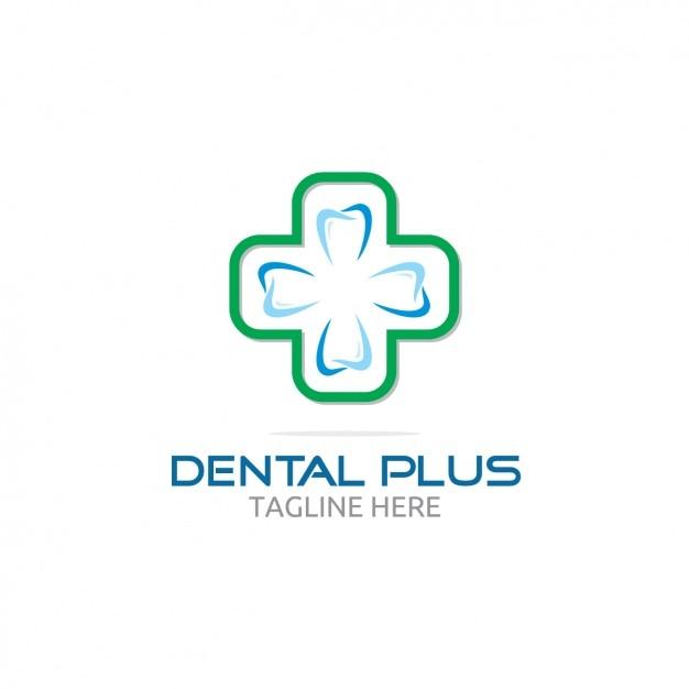 Dental plus logo mit kreuz Kostenlosen Vektoren