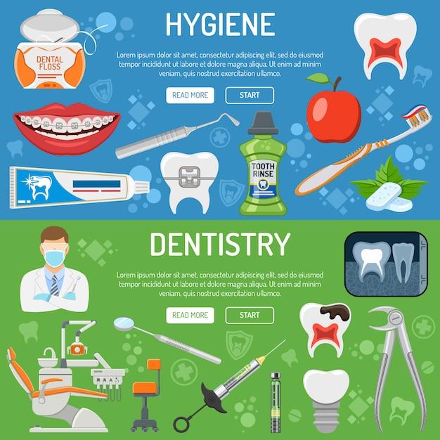 Dental services banner und infografiken Premium Vektoren