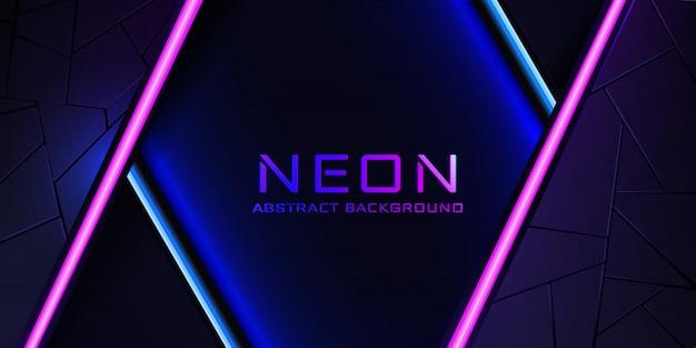 Der abstrakte neonhintergrund mit einer blauen und rosa hellen linie und einer beschaffenheit. Premium Vektoren