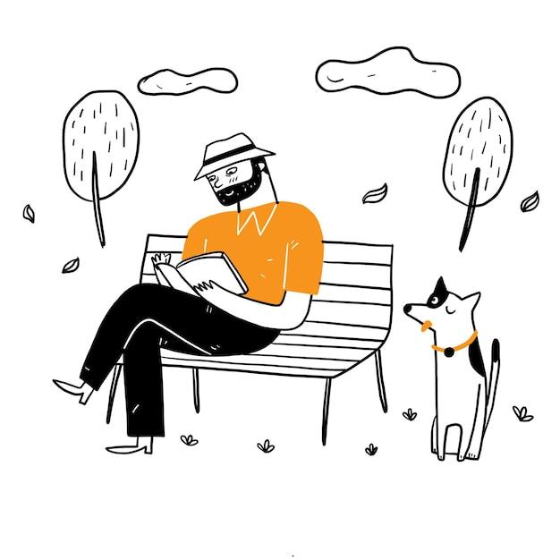 Der alte mann sitzt auf dem parkstuhl und liest entspannt mit seinem hund ein buch. handzeichnung vektor-illustration gekritzel-stil Kostenlosen Vektoren