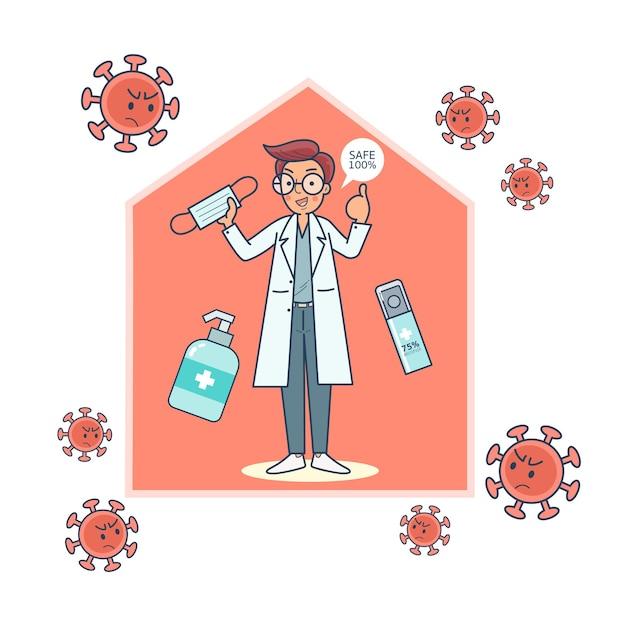 Der arzt empfiehlt die verwendung von handschuhen, masken und händedesinfektionsmitteln, um infektionen vorzubeugen Kostenlosen Vektoren