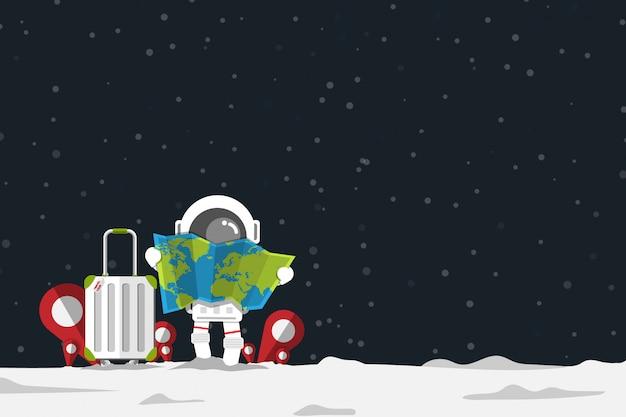 Der astronaut, der kartenpapier mit gepäck und standort hält, überprüfen herein zeichen Premium Vektoren