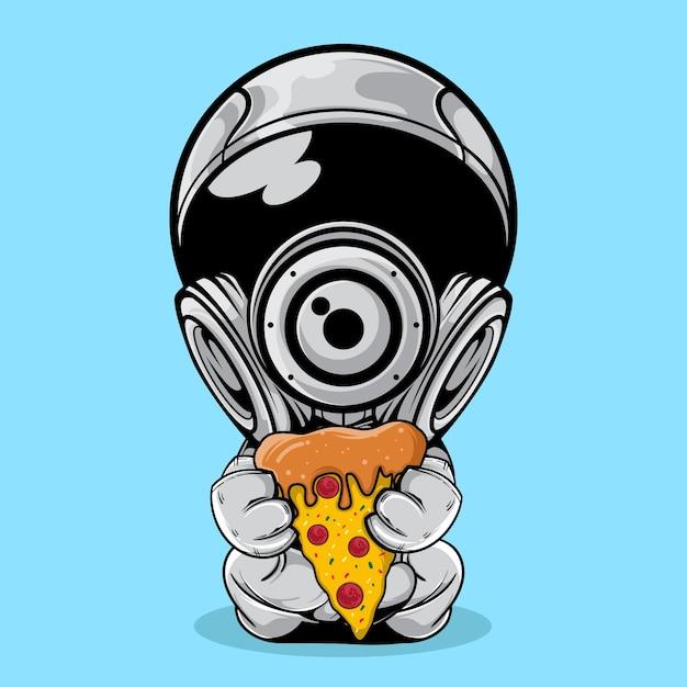 Der astronaut mit scheibe pizza illustration Premium Vektoren