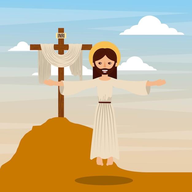 Der aufstieg jesus christus Premium Vektoren