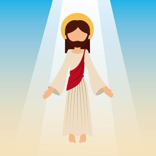 Der aufstieg von jesus christus mit blauem himmel Premium Vektoren