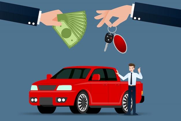 Der autohändler tauscht zwischen den pickups. Premium Vektoren