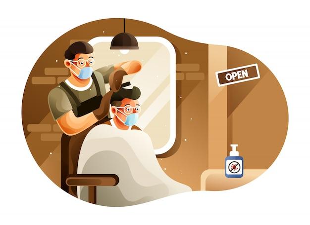 Der barbershop ist während einer pandemie geöffnet Premium Vektoren