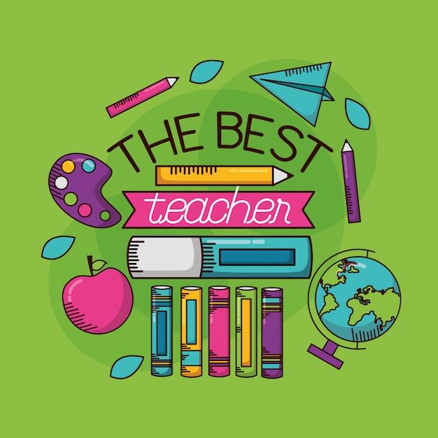 Der beste lehrer. glücklicher lehrertag Kostenlosen Vektoren