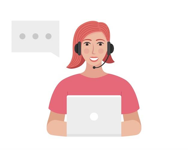 Der callcenter-betreiber mit einem headset tippt auf dem laptop. frau spricht Premium Vektoren