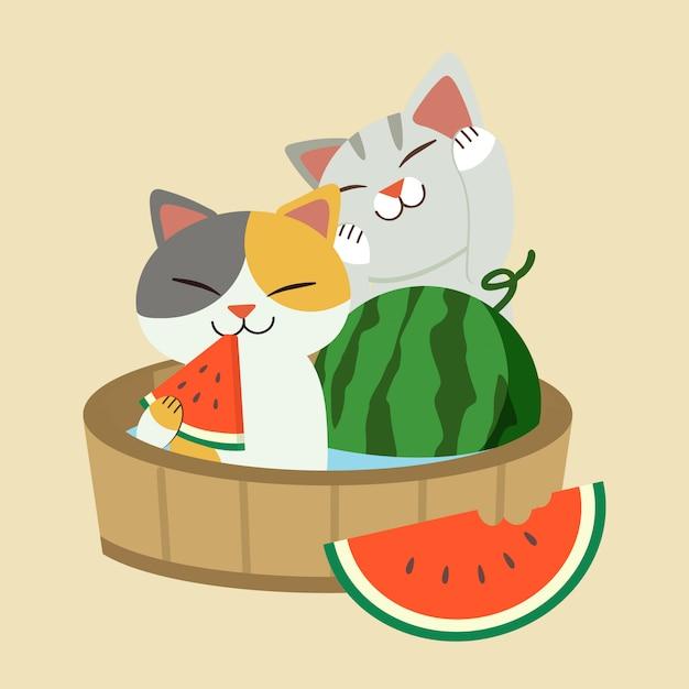 Der charakter der netten katze eine rote wassermelone essend und im fass sitzend. der sommer im japanischen stil mit der katze Premium Vektoren