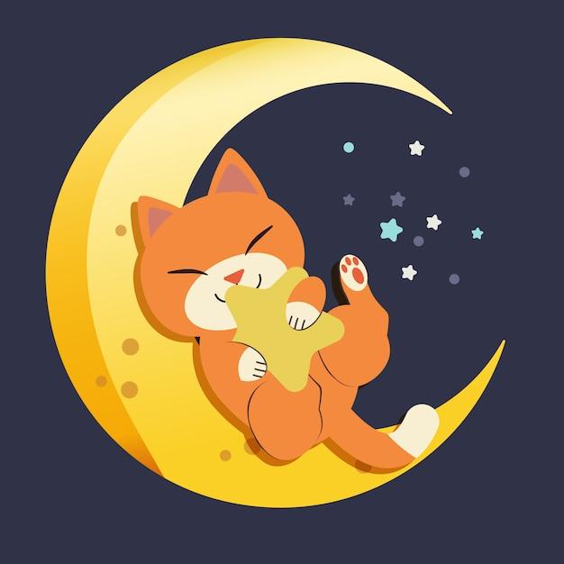 Der charakter der netten katze sitzend auf dem mond. die katze schläft und lächelt. die katze, die auf dem halbmond schläft Premium Vektoren
