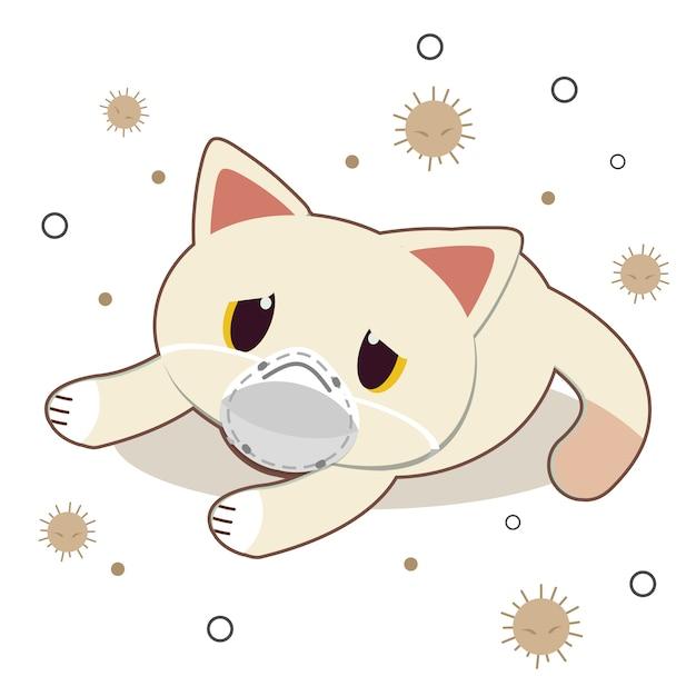 Der charakter der netten katze trägt eine maske mit staub auf weiß Premium Vektoren