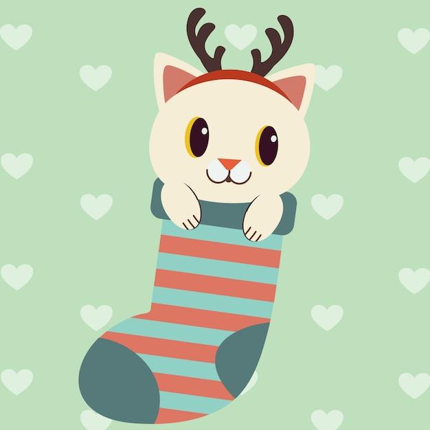 Der charakter der niedlichen katze in der großen roten socke für gebrauch das weihnachtsthema. Premium Vektoren