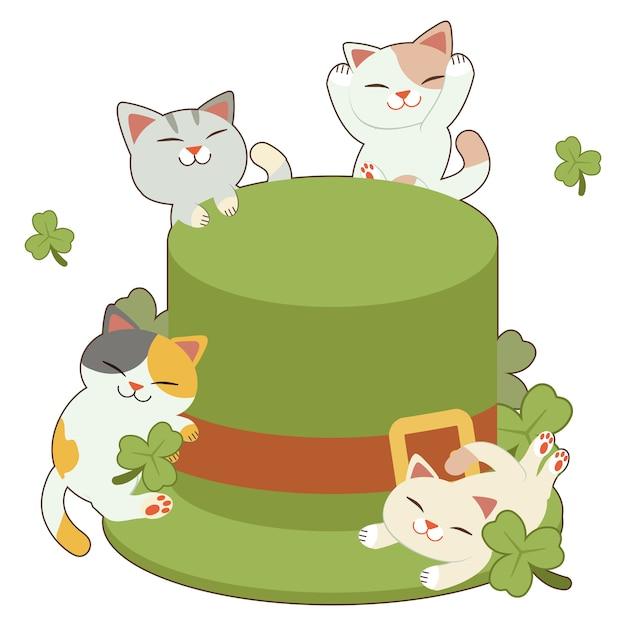 Der charakter der niedlichen katze und der freunde mit dem großen grünen zylinder und kleeblatt Premium Vektoren