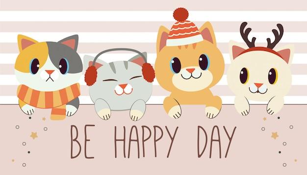 Der charakter der niedlichen katze und der freunde spaltet einen aufkleber und einen text von ist glücklicher tag auf dem weiß und dem rosa auf. Premium Vektoren