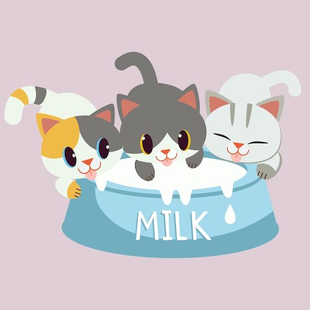 Der charakter der niedlichen katze und des freundes, die eine tasse milch trinken. katzenliebesmilch. die katze freut sich und genießt mit der großen tasse milch. Premium Vektoren