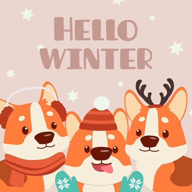 Der charakter des netten corgihundes mit freunden im weihnachtsthemasatz. der corgi trägt eine wintermütze, ein hirschhorn, einen winterhandschuh und einen schal. der charakter des netten corgihundes in der flachen vektorart. Premium Vektoren