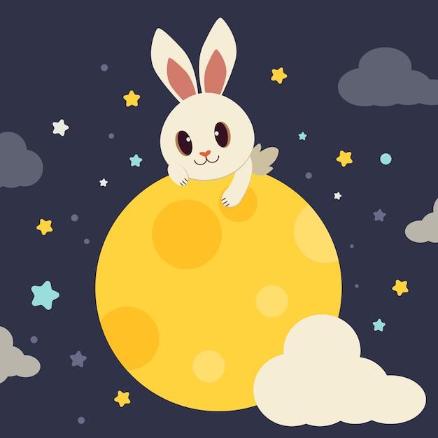 Der charakter des netten kaninchens sitzend auf dem vollmond. Premium Vektoren