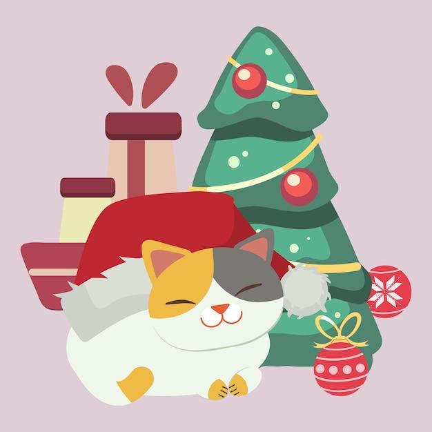Der charakter des netten katzenabnutzungs-winterhutes mit weihnachtsbaum und weihnachtsball und geschenkbox. die katze und der große winterhut. der charakter der süßen katze im flachen stil. Premium Vektoren