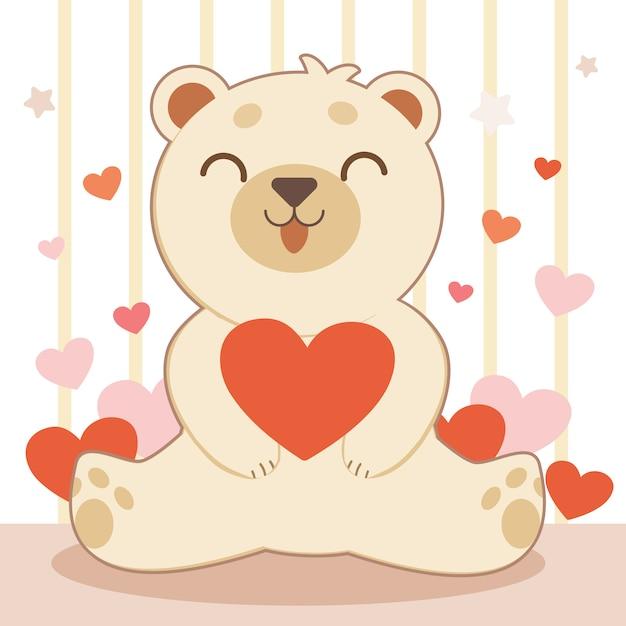 Der charakter des niedlichen bären, der ein großes rotes herz umarmt Premium Vektoren