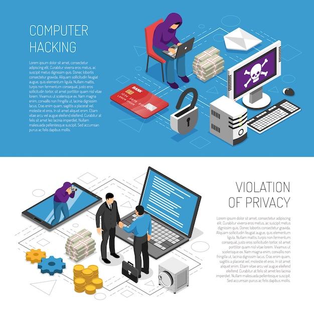 Der computer, der isometrische horizontale fahnen zerhackt, stellte mit den hackern ein, die persönliche information 3d stehlen Kostenlosen Vektoren