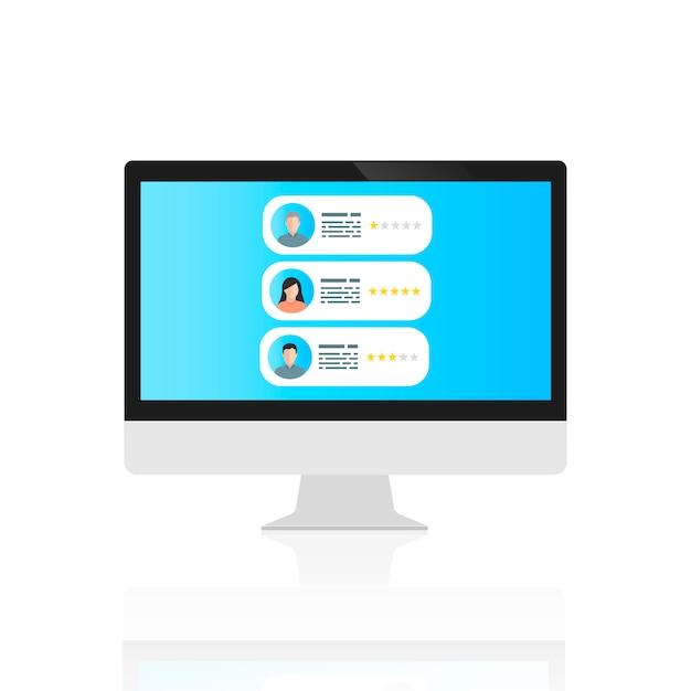 Der computer mit benutzerkommentaren auf dem bildschirm Premium Vektoren