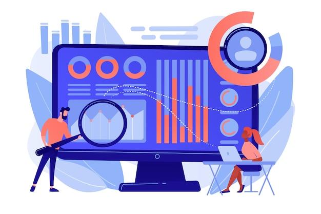 Der datenanalyst überwacht und regelt die einnahmen und ausgaben mit einer lupe. finanzmanagementsystem, finanzsoftware, it-management-tool-konzept Kostenlosen Vektoren