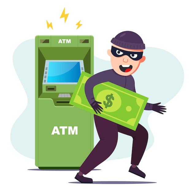 Der dieb hat geld von einem geldautomaten gestohlen. das terminal hacken, um zu stehlen. flache charakter-vektor-illustration. Premium Vektoren
