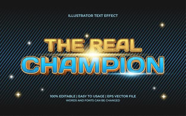 Der echte champion-texteffekt mit einem blau-goldenen 3d-display Premium Vektoren