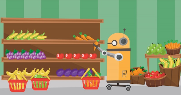 Der einsatz von robotertechnologien beim einkaufen. Premium Vektoren