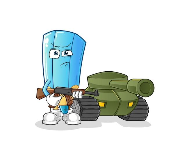 Der farbstiftsoldat mit panzercharakter. cartoon maskottchen Premium Vektoren