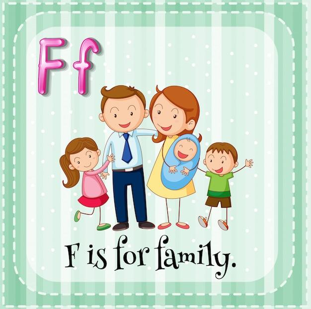 Der flashcard-buchstabe f ist für familien Kostenlosen Vektoren