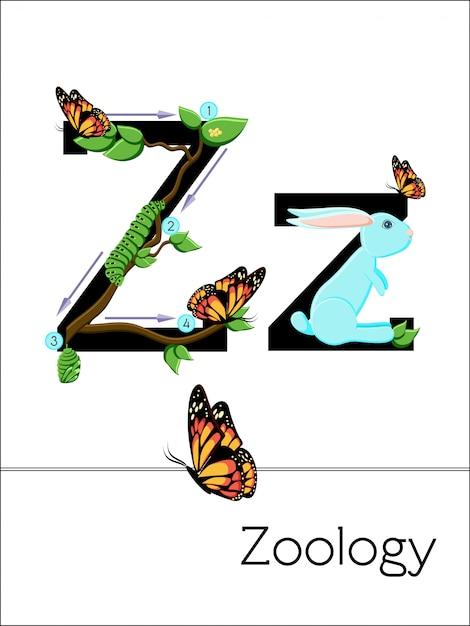 Der flashcard-buchstabe z steht für zoologie Premium Vektoren