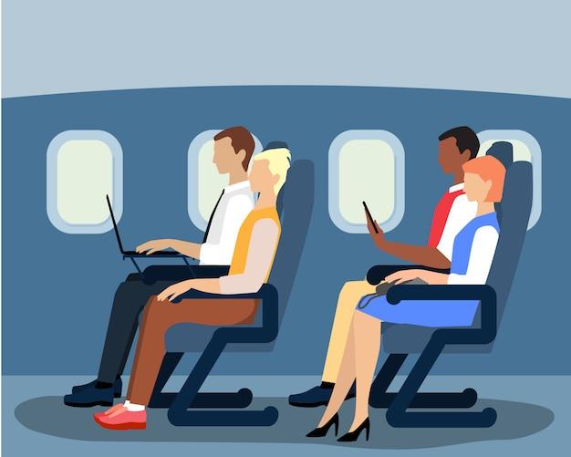 Der fluggäste im flugzeug Premium Vektoren