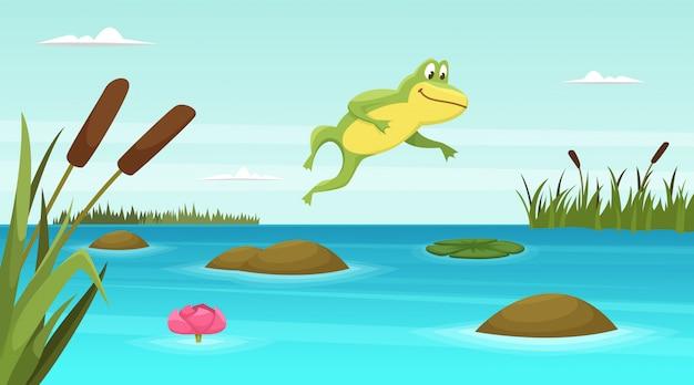 Der frosch springend in teich Premium Vektoren