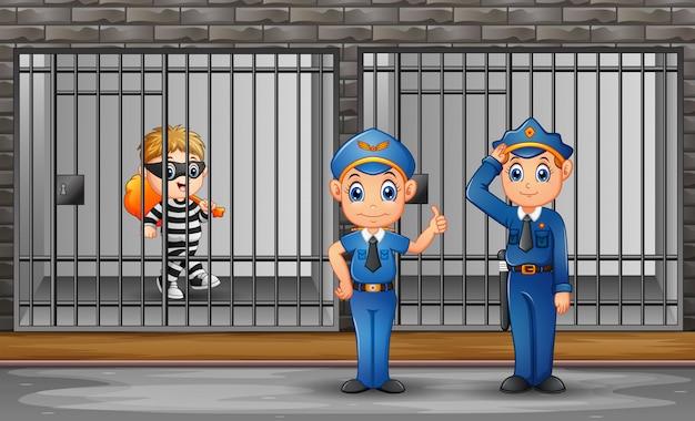 Der gefangene im gefängnis wird von gefängniswärtern bewacht Premium Vektoren