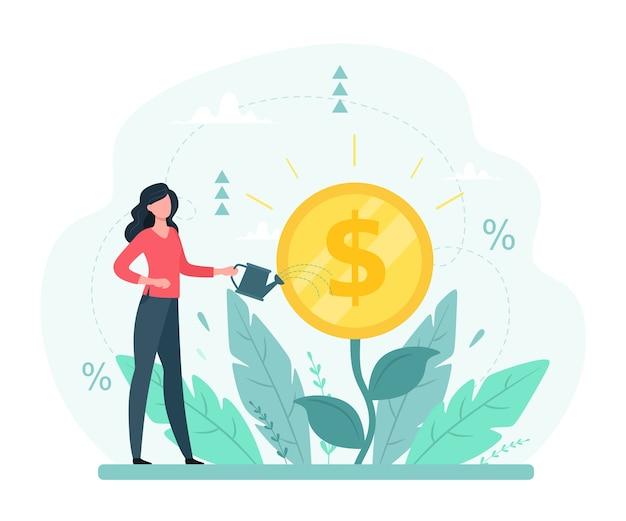 Der geldbaum wächst. Premium Vektoren